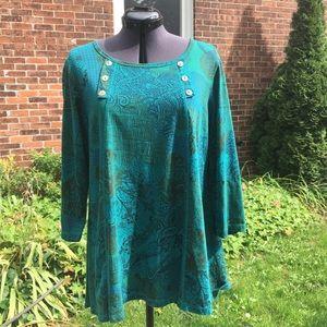 Color Me Cotton Scoop Neck Printed Cotton Knit Top